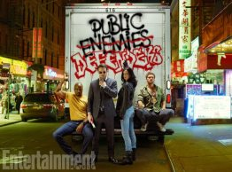 The Defenders, Mike Colter as Luke Cage, Charlie Cox as Daredevil, Krysten Ritter as Jessica Jones, and Finn Jones as Iron Fist, photographed for Entertainment Weekly on December 10th, 2016, by Finlay Mackay in Brooklyn, New York. Costume Designer: Stephanie Maslansky, Wardrobe Supervisor: Pahelle Latino, Makeup Head: Sarit Klein, Key Makeup Artist: Kaela Dobson, Hair Department Head: Pamela May, FX Makeup: Brian Spears, Prop Stylist: Charlot Malmlof